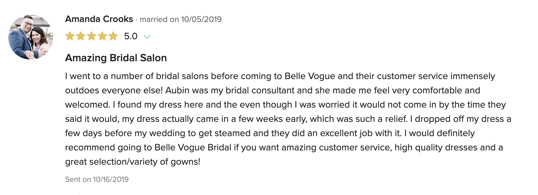 Positive review screenshot from bride on True Society by Belle Vogue Bridal listing on Wedding Wire
