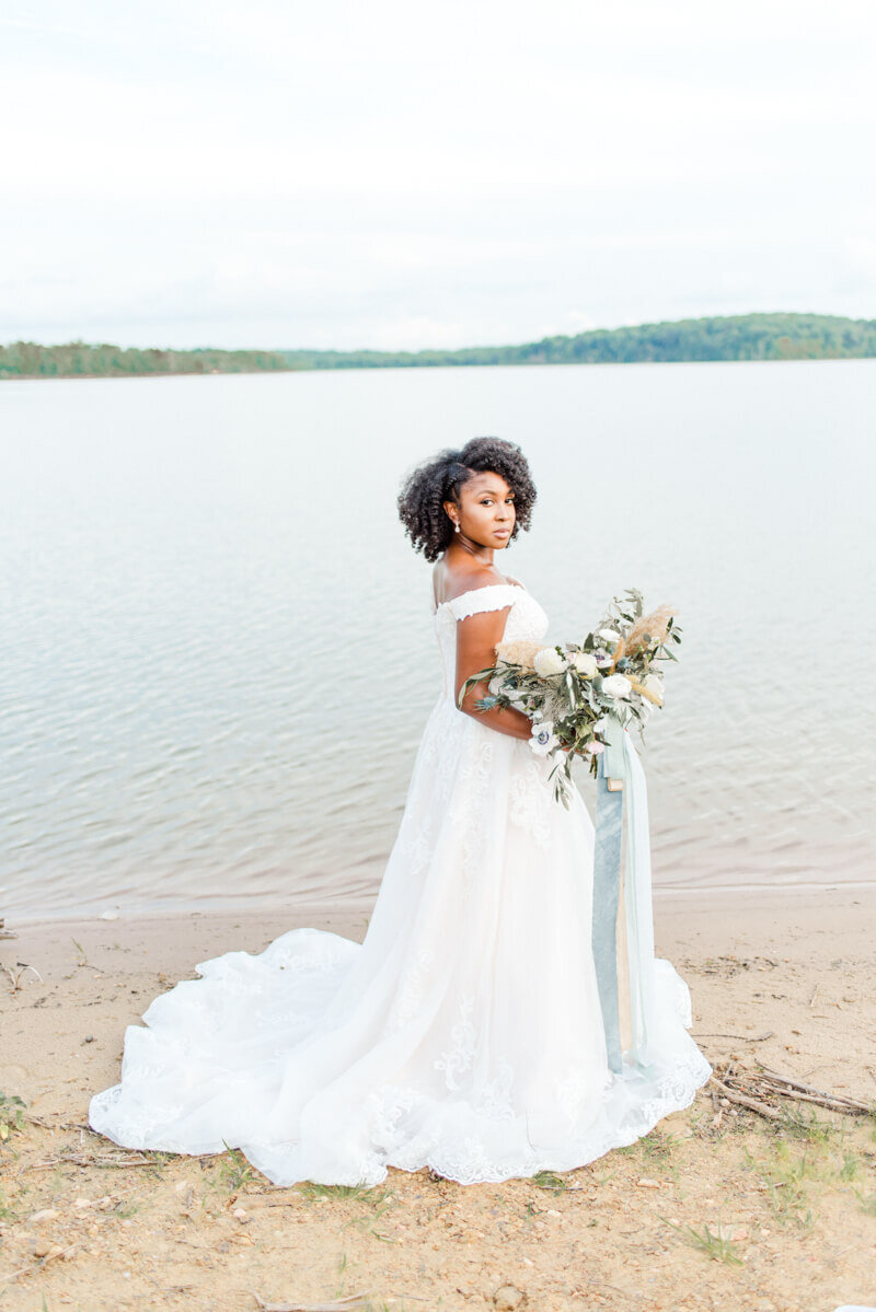 Trendy bride styled photo of bride wearing essense of australia dress in style Style D2815