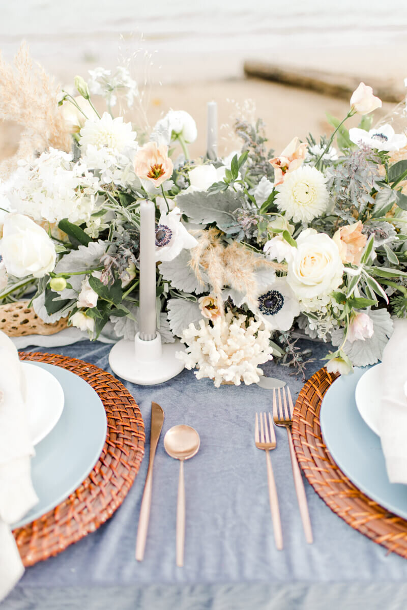 Trendy bride styled photo of wedding table