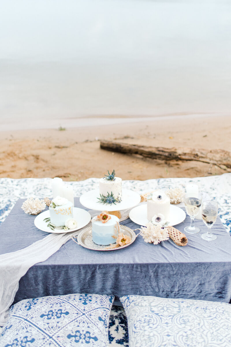 Trendy bride styled photo of table and wedding desserts