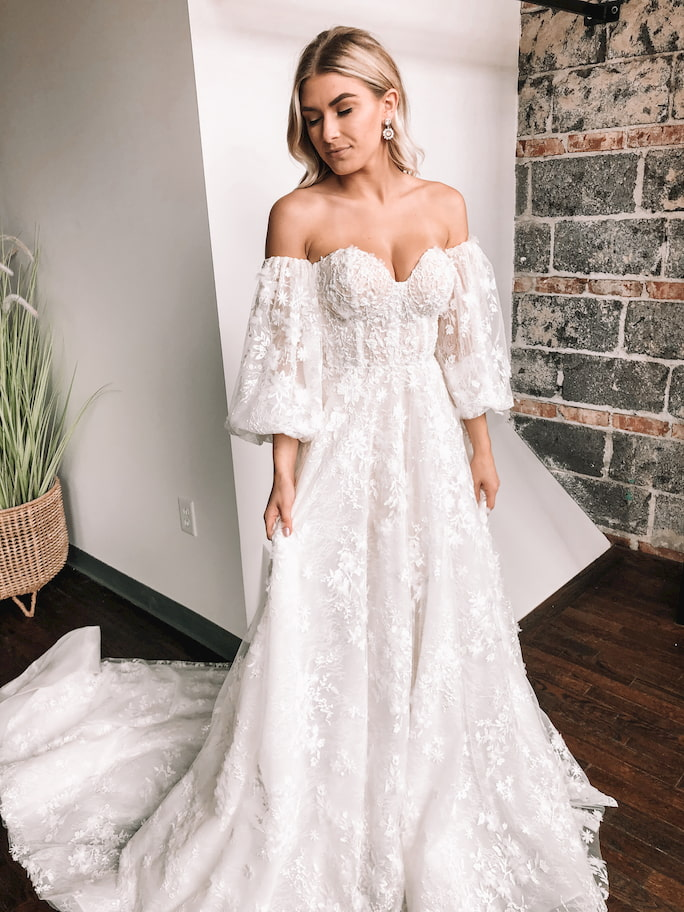 Model wearing wedding dress in style Featured: Martina Liana Luxe Style LE1101