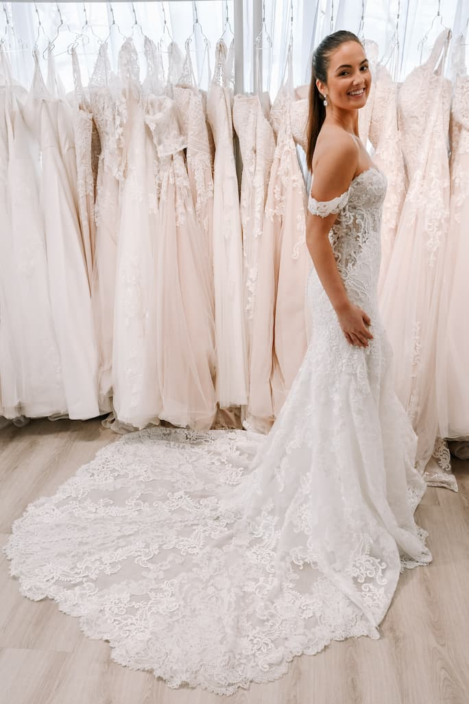 Off the shoulder martina liana wedding dress in style 1175