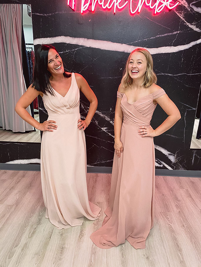 Mismatched bridesmaid dresses in mauve pink colors, gowns by Sorella Vita