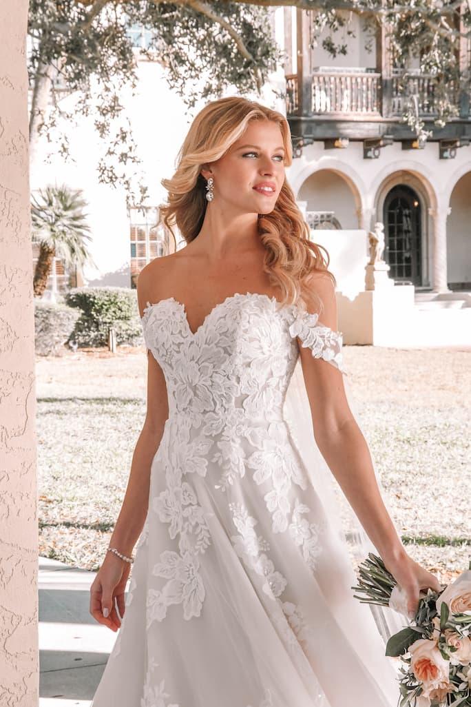 Stella York off the shoulder wedding dress in style 7115