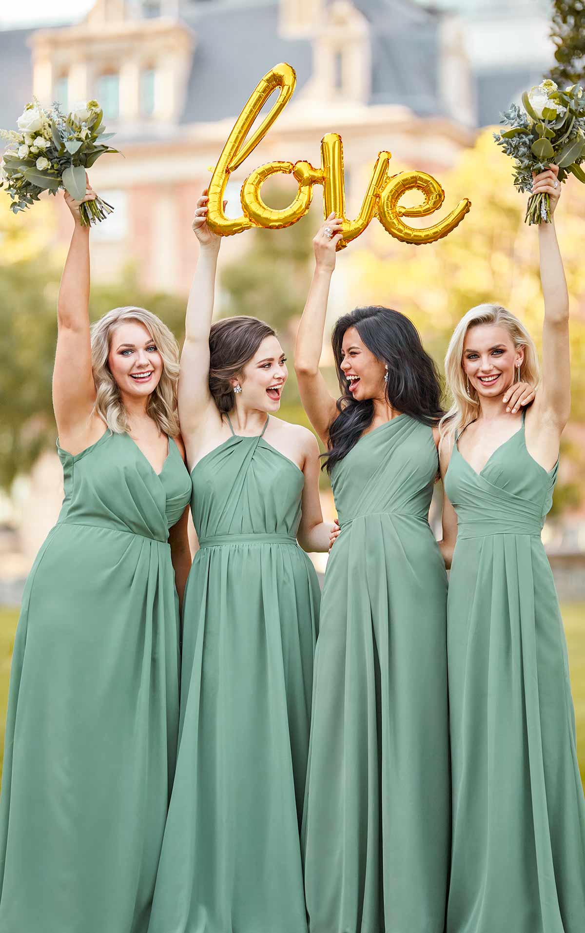 Models wearing green bridesmaid dresses in different styles