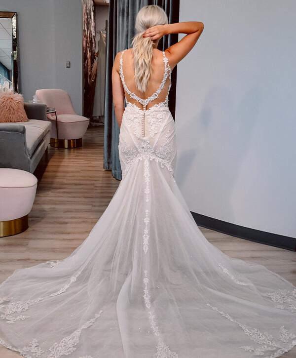 Back view of bride wearing an Oxford Street wedding dress, PA1109