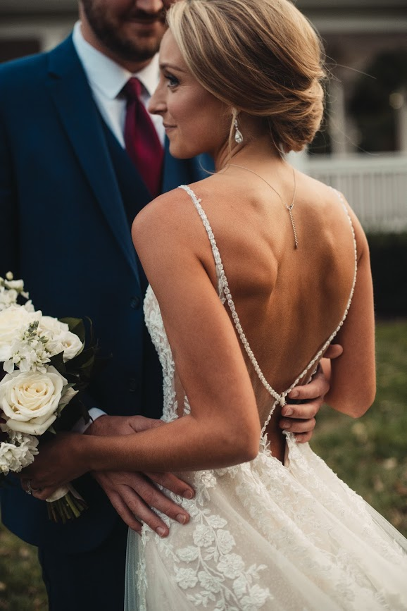close up photo of back of martina liana dress in style 1137