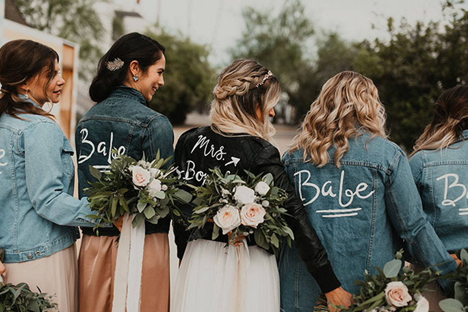 Bride and her I Do Crew with customized jackets