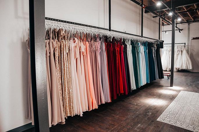 Rack of Sorella Vita Bridesmaid Dresses at your local True Society bridal shop