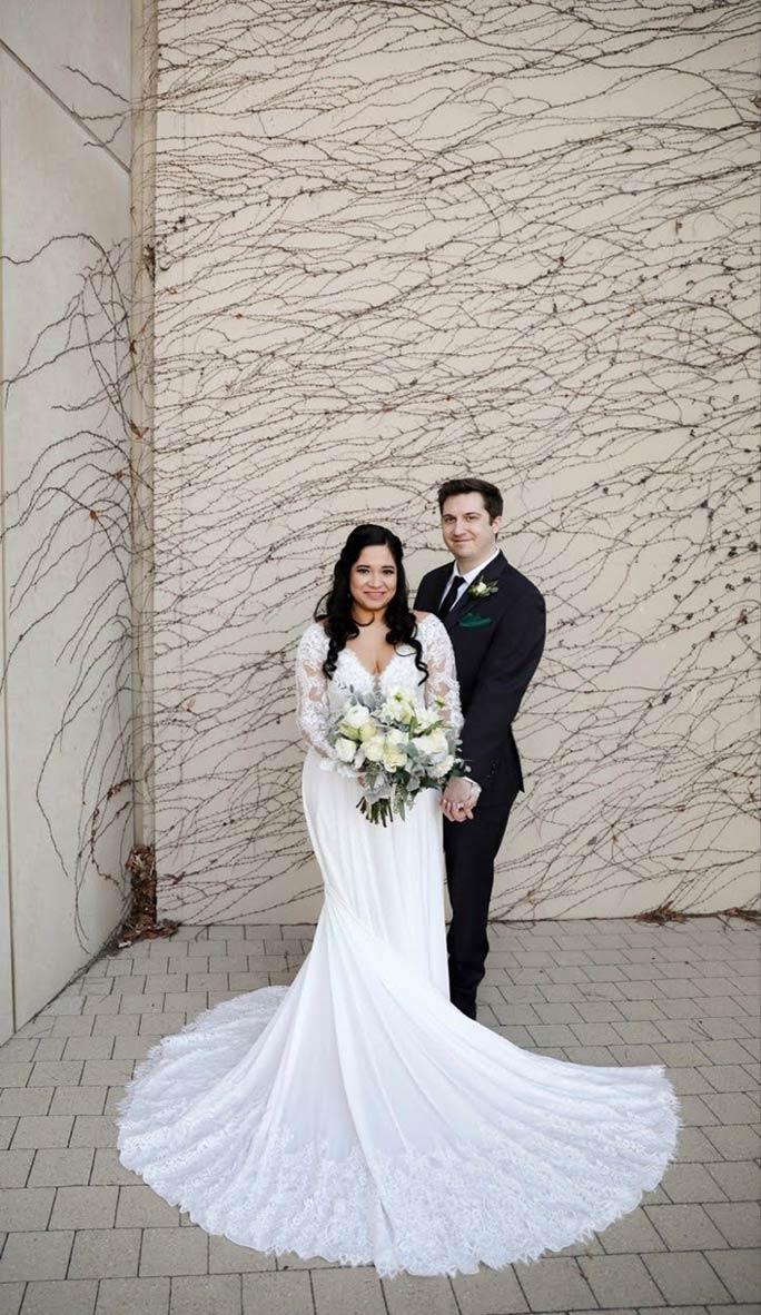True bride Julia posing for wedding photos