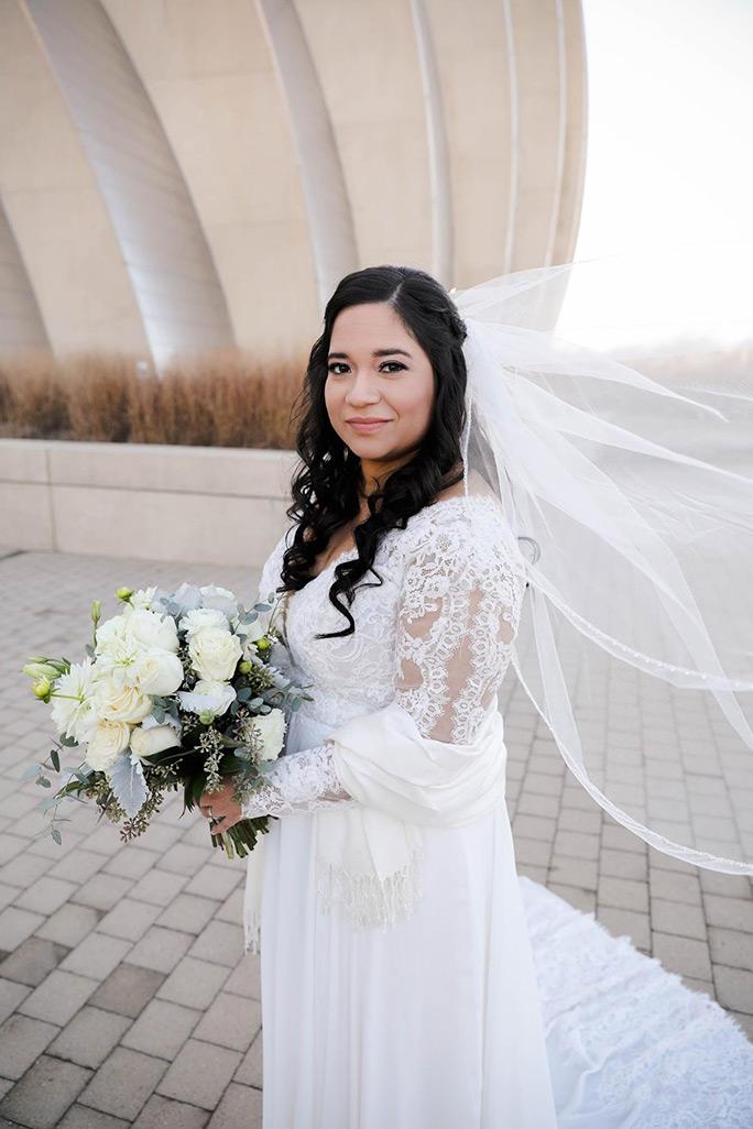 True bride Julia wearing long sleeve oxford street wedding dress, PA1125