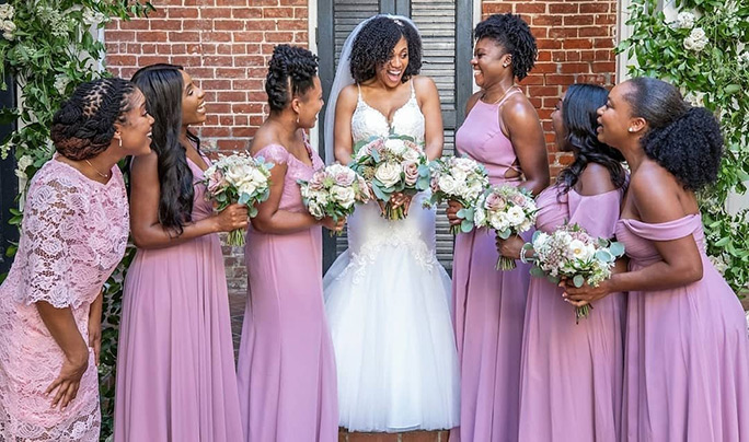 True Society Bride with her Bridesmaids