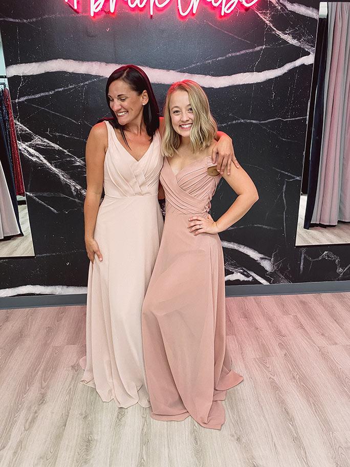 Sorella Vita bridesmaid dresses in pink and mauve colors