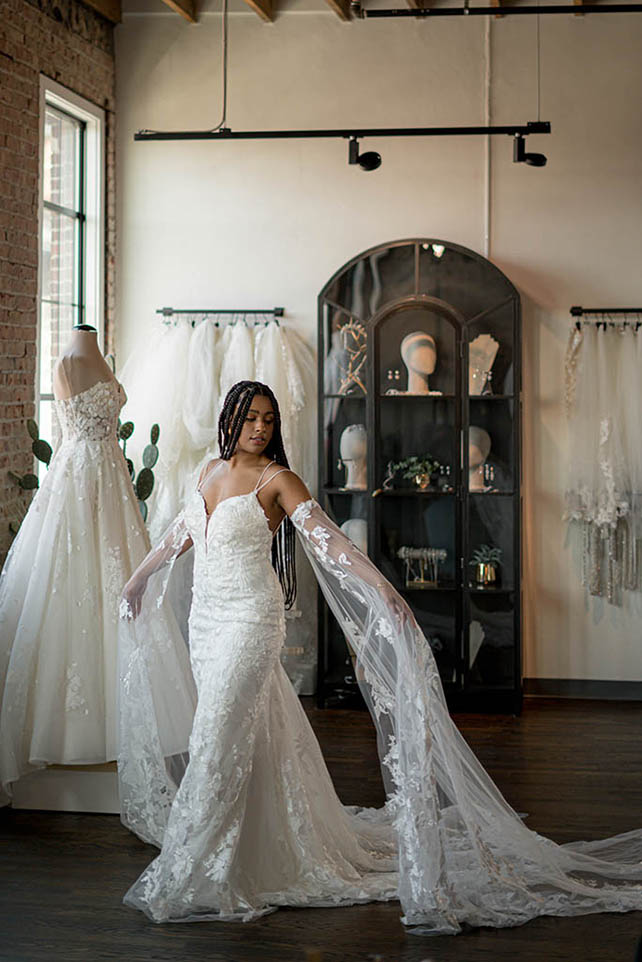 Bria Jones wearing boho lace wedding dresses with detachable sleeves - style bowie by all who wander