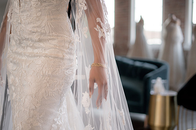 Bria Jones wearing boho wedding gown- style bowie by all who wander