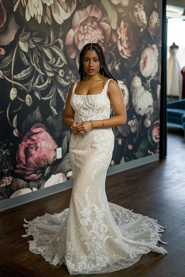 Bria Jones wearing luxurious square neckline wedding dress - style le1106 by martina liana