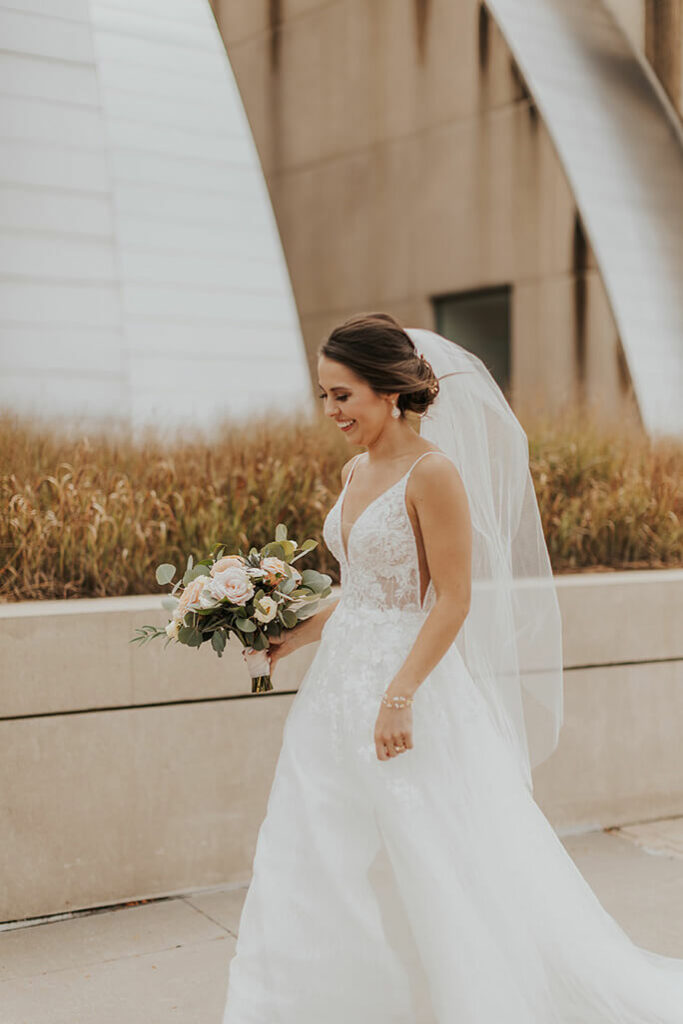 real bride katie walking - style D2840 by essense of australia