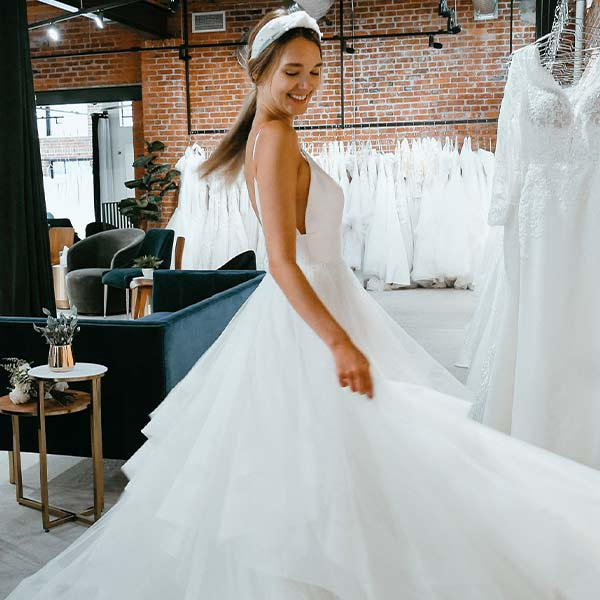 Bride Twirling at Crossroads Store