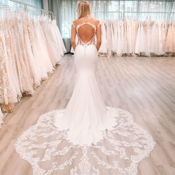 Open Back Wedding Dress with Lace Train