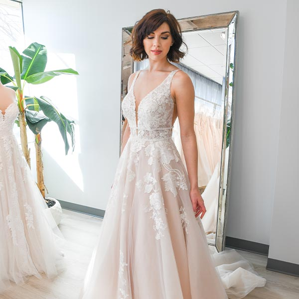 Wedding Dress with V-Neckline