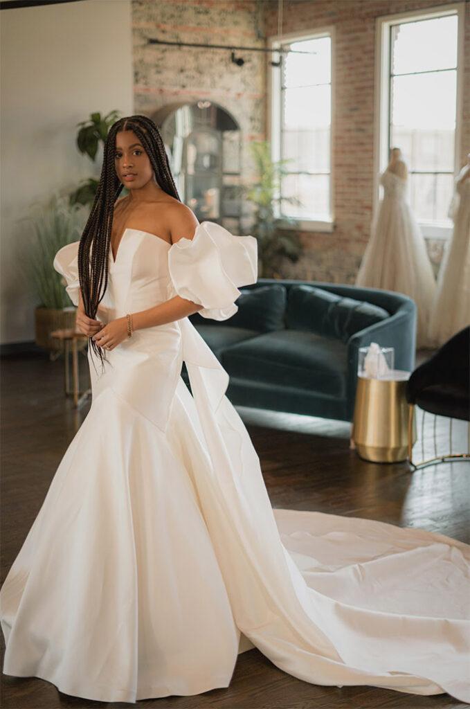 influencer brenna wearing mermaid wedding dress - style 1266 by martina liana