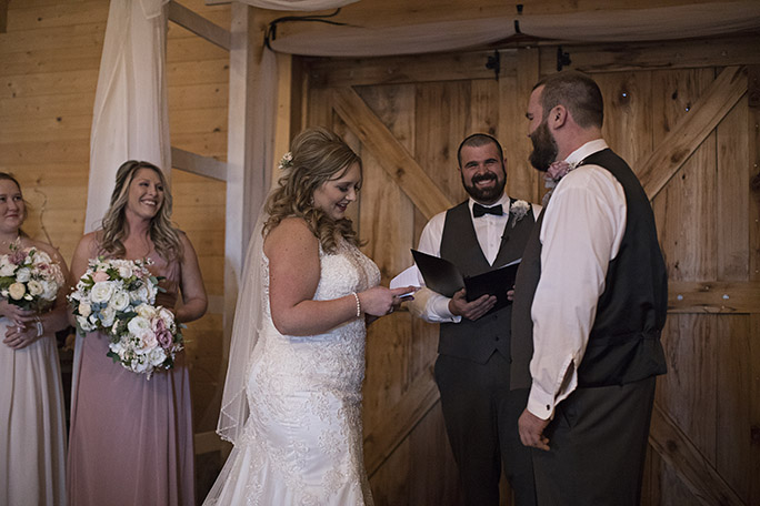 real bride and groom sharing vows - style D2174 by essense of Australia